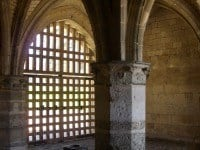 The vaulted ceilings of the 14th century porch in the gatehouse.