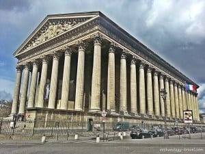 Side view of La Madeleine church in Paris.