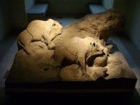 Replicas of the clay bison from Le Tuc d'Audoubert in the National Archaeology Museum in Paris.