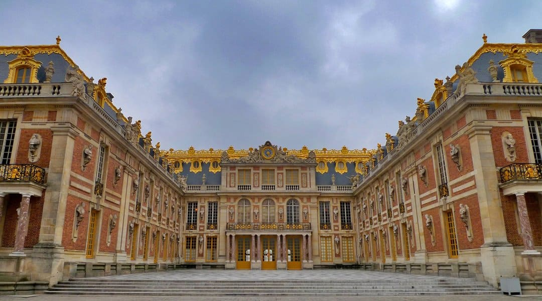 The marbled courtyard of the first chateau at the Palace of Versailles.