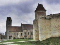 The church and walls of Blandy-les-Tours Castle-Fort