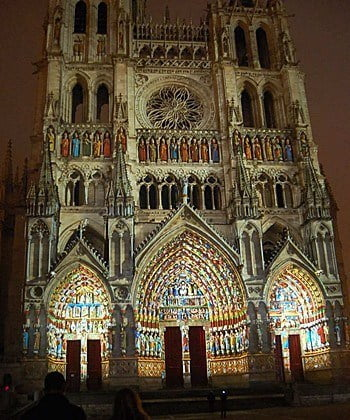 Amiens Cathedral by night.