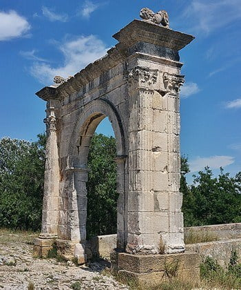 One of two arches of the Roman Pont Flavian in Provence.