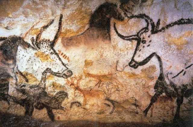 Hall of the bulls in Lascaux, Montignac.