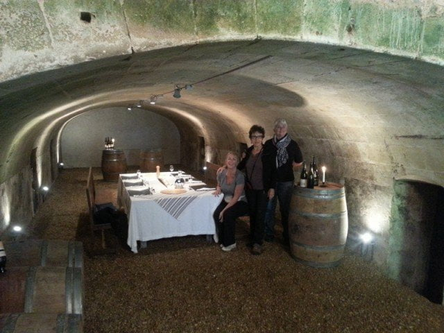 Lunch in a barrel cellar, with my travelling companions.