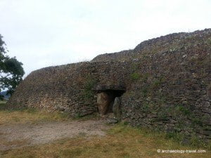 The entrance to the passage tomb of the Neolithic cairn on the island of Gavrinis.