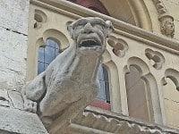 A neo-Gothic gargoyle on the gatehouse.