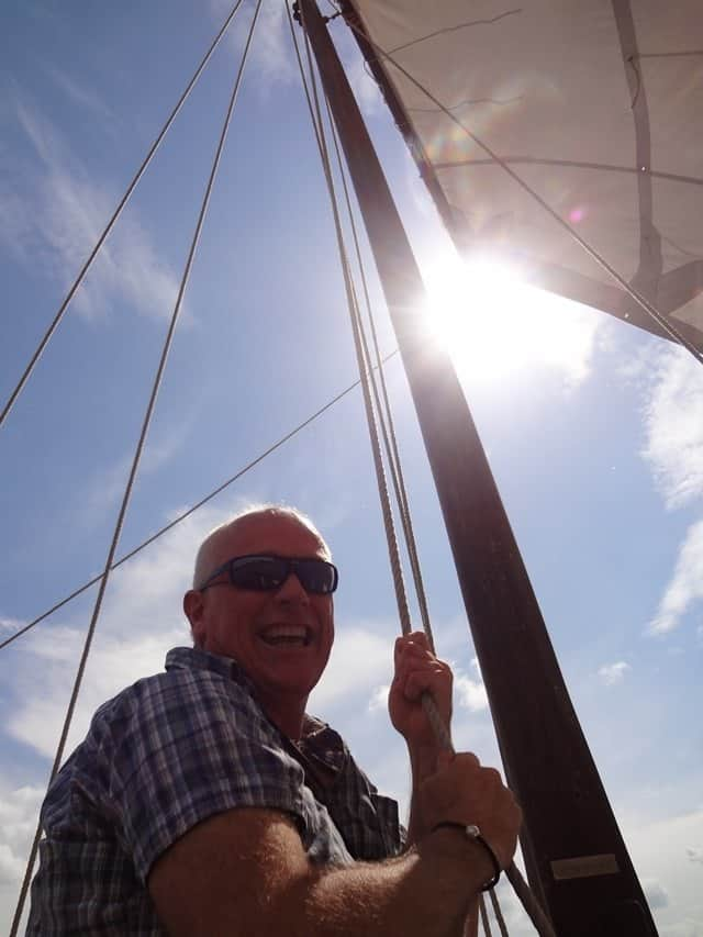 Yours truly raising the sail.