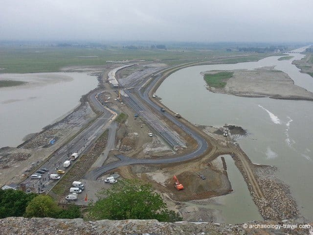 An aerial view of construction work at Mont-Saint-Michel