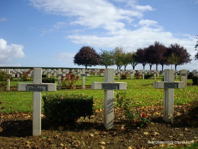 Tombstones of French soldiers in one of the cemeteries in Rancourt.