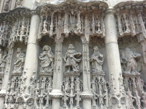 A few of the 333 finely carved human figures on the portal of the Notre Dame Caudebec-en-Caux.