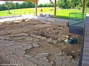The paved courtyard of the domus, or town house at Vieux-la-Romaine, Normandy.