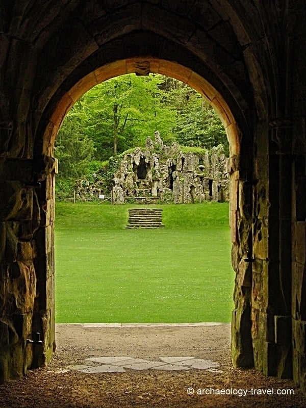 Looking out of the castle door onto the artificial grotto.