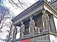 The four caryatids above the crypt.