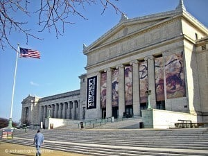 The Neoclassical façade of the Field Museum in Chicago's Museum Campus