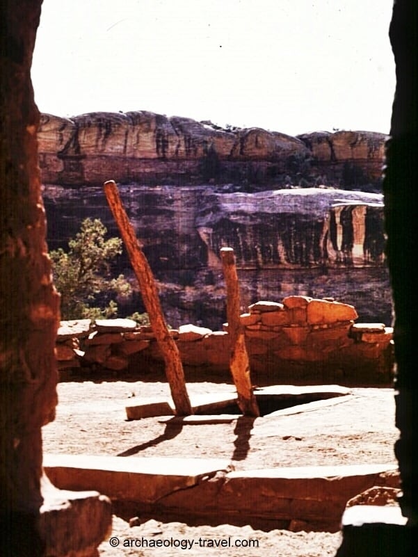 Looking out through a doorway on to the entrance to a kiva