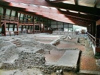 Remains of the villa walls inside the visitor's centre at Lullingstone Roman Villa.