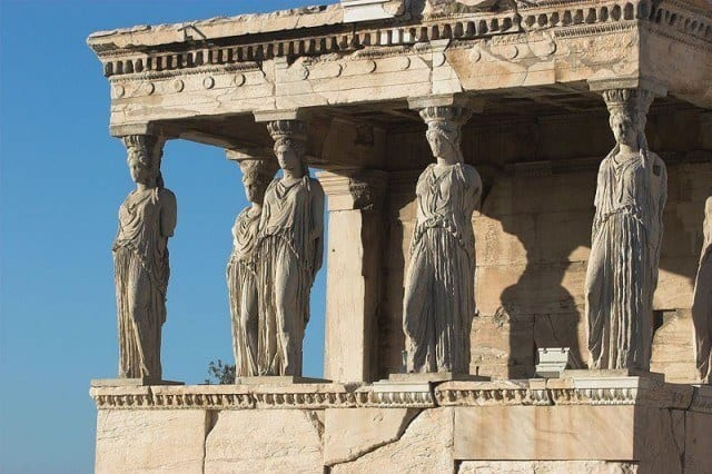 The famous 'porch of the caryatids attached to the Erechtheion on the Acropolis in Athens.