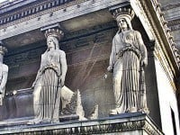 A close up of two of the caryatids.