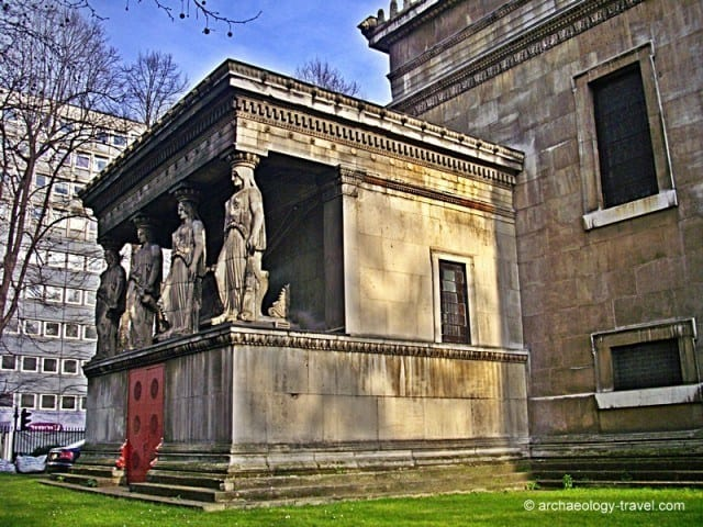 The caryatids on the crypt at S Pancras Church in London