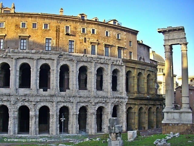 What was once the Marcellus Theatre next to the remains of the Temple of Apollo in Rome.