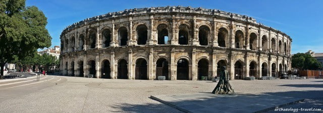 The Roman amphitheatre in the heart of Nimes.