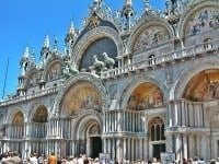 The front façade of St Mark's Basilica in Venice.