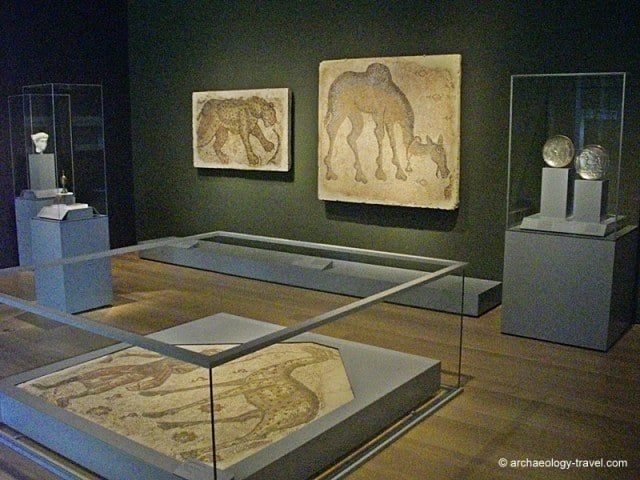 Overview of the gallery displaying the Byzantine mosaic fragments from Syria.