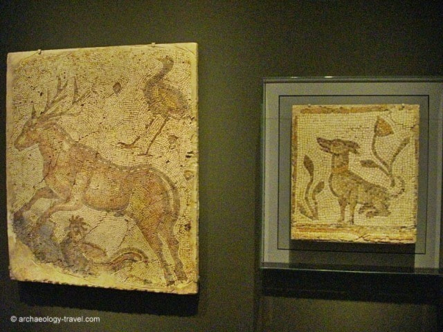 Two mosaic fragments, one of a stag, ostrich and a rooster, the other depicting a seated dog.