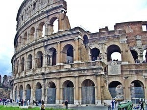 The Colosseum, with the plaque declaring the site a Christian shrine.