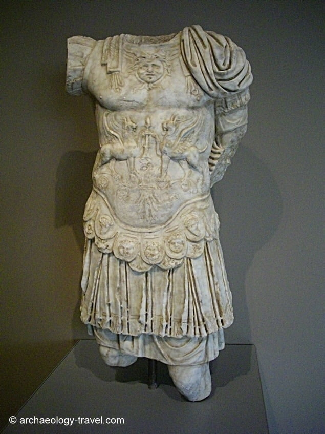 A highly detailed sculptured torso of an unknown Roman Emperor.