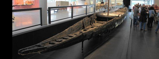 The near complete Roman barge on display  in the Musée Départemental Arles Antique.
