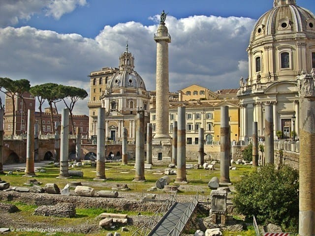 The view of Trajan's Column from Trajan's Forum.