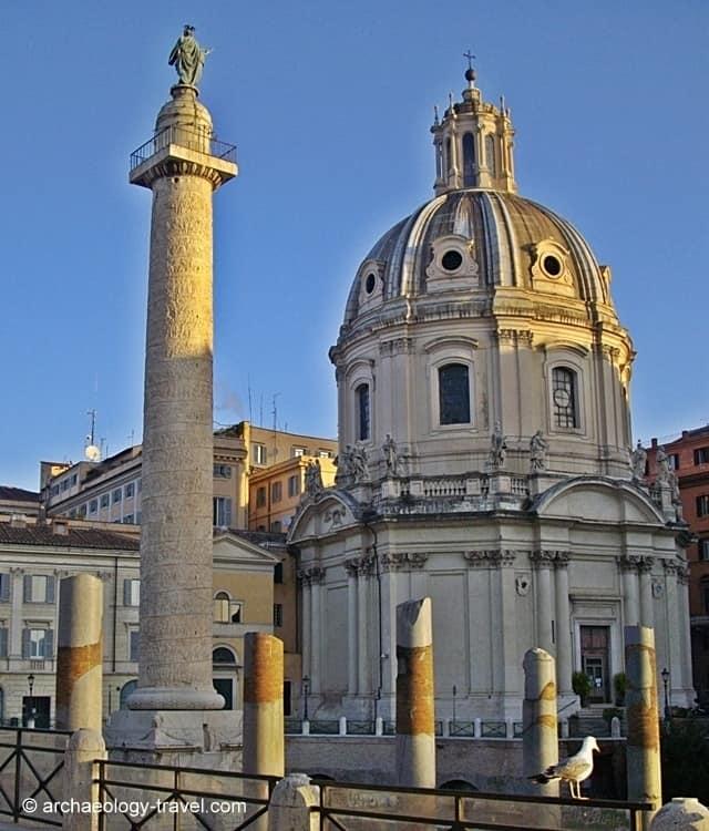 The Santissimo Nome di Maria al Foro Traiano Church behind Trajan's Column in Rome.
