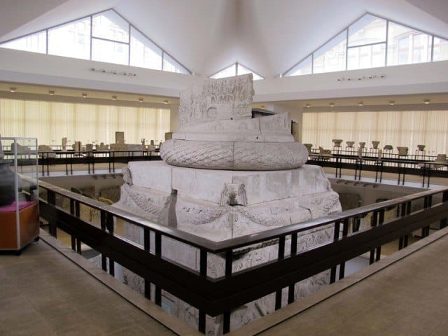 A replica of the base of the column in Bucharest.