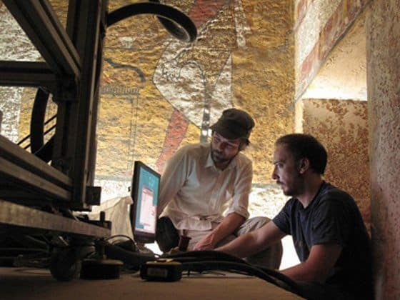 Factum Foundation staff in the process of digitally replicating Tutankhamun's tomb.