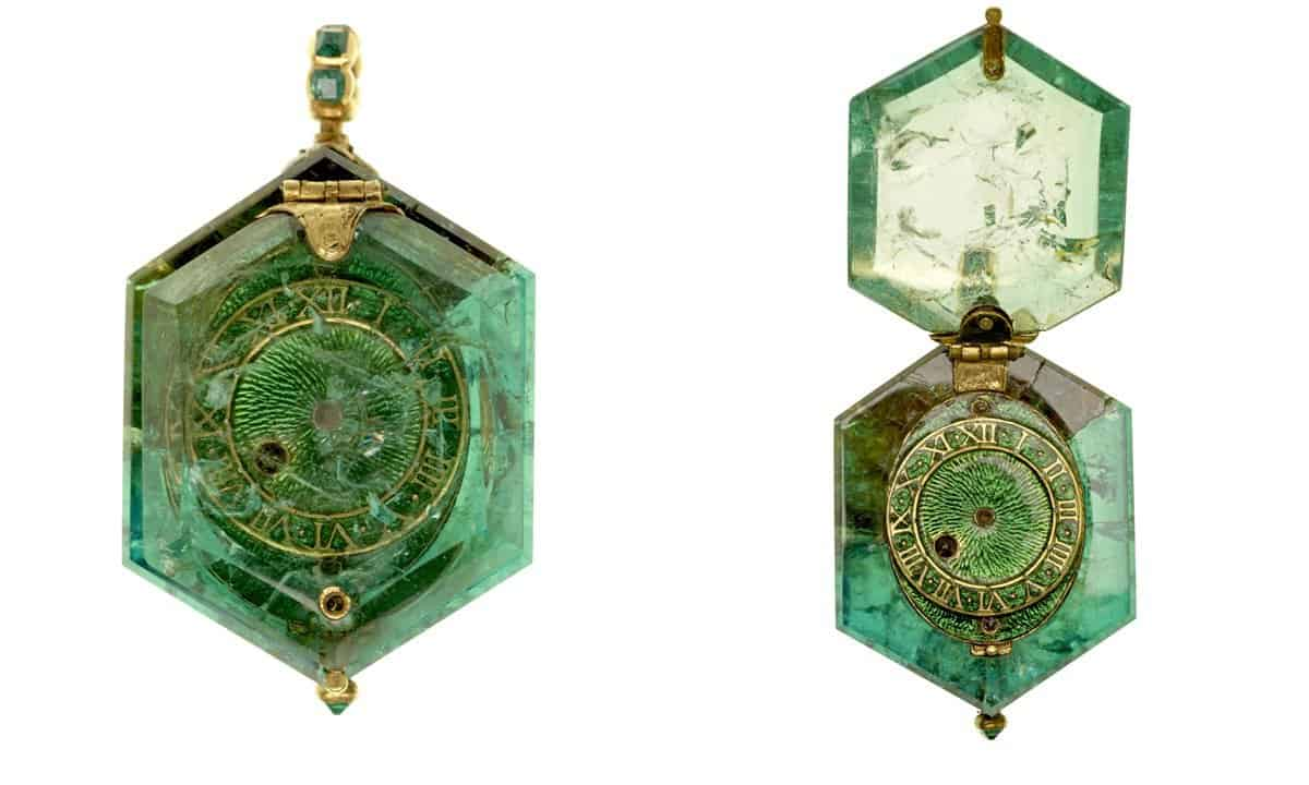 A watch set in a hexagonal emerald crystal from Colombia.