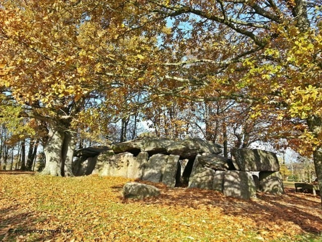 Looking at the dolmen from the side.