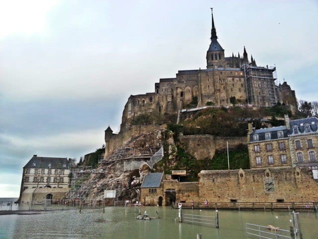 High-tide at the entrance to Mont Saint-Michel.