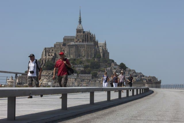 On 22 July 2014 the footbridge linking Mont Saint Michel to the mainland was opened to the public.