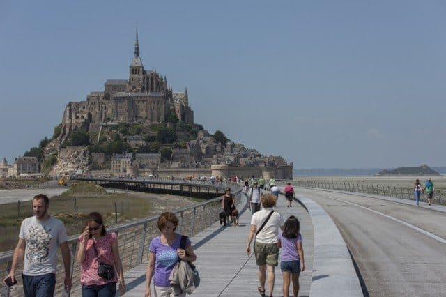 As of 22 July 2014, the new footbridge linking Mont Saint Michel to the mainland was opened to the public.