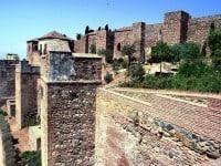 The defensive walls of the Alcazaba of Málaga, Spain.