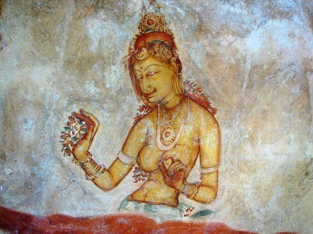One of the painted female figures.