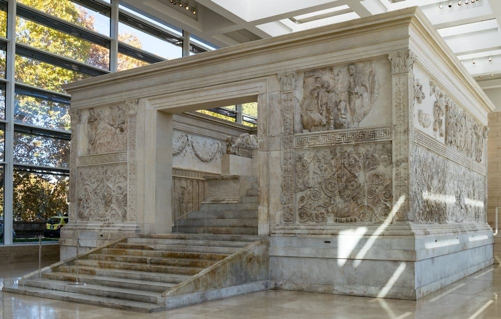 The reconstructed Ara Pacis in Rome.