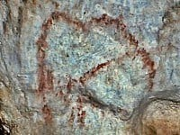 The red outline of a mammoth at Bernifal.