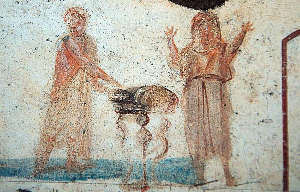 A fresco depicting the Eucharist in the Catacomb of Callixtus, Rome.