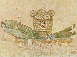 A fresco showing the bread and fish of the Eucharist.