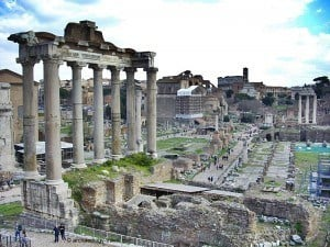 Looking over the Roman Forum towards the Colosseum.