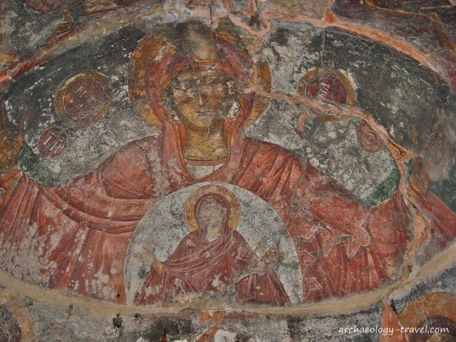 A close up of the wall painting in the apse, showing St. Anne and the Virgin.