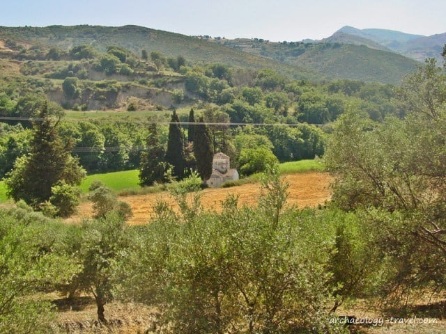 St Paraskevi, on the edge of fields and an olive grove.